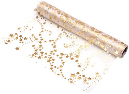 100%Mosel Tischläufer Sterne, in Gold/Metallic (28 cm x 5 m), Tischband aus Organza, edle Tischdeko für Weihnachten & Adventszeit, Festliche Dekoration zu besonderen Anlässen - 1