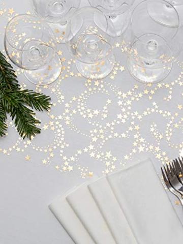 100%Mosel Tischläufer Sterne, in Gold/Metallic (28 cm x 5 m), Tischband aus Organza, edle Tischdeko für Weihnachten & Adventszeit, Festliche Dekoration zu besonderen Anlässen - 5