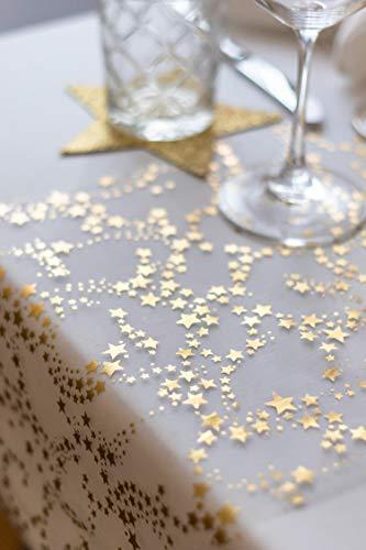 100%Mosel Tischläufer Sterne, in Gold/Metallic (28 cm x 5 m), Tischband aus Organza, edle Tischdeko für Weihnachten & Adventszeit, Festliche Dekoration zu besonderen Anlässen - 6