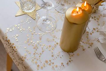 100%Mosel Tischläufer Sterne, in Gold/Metallic (28 cm x 5 m), Tischband aus Organza, edle Tischdeko für Weihnachten & Adventszeit, Festliche Dekoration zu besonderen Anlässen - 7