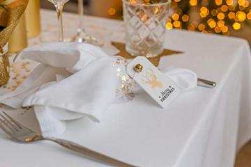 100%Mosel Tischläufer Sterne, in Gold/Metallic (28 cm x 5 m), Tischband aus Organza, edle Tischdeko für Weihnachten & Adventszeit, Festliche Dekoration zu besonderen Anlässen - 8