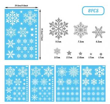 140 Schneeflocken Fensterfolie, Fensterdeko Fensterbild Statisch Haftende PVC Aufkleber Weihnachten Dekoration - Selbstklebend Fenstersticker für Weihnachts-Fenster Dekoration, Schaufenster, Vitrinen - 2