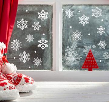 140 Schneeflocken Fensterfolie, Fensterdeko Fensterbild Statisch Haftende PVC Aufkleber Weihnachten Dekoration - Selbstklebend Fenstersticker für Weihnachts-Fenster Dekoration, Schaufenster, Vitrinen - 5