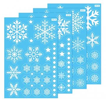 140 Schneeflocken Fensterfolie, Fensterdeko Fensterbild Statisch Haftende PVC Aufkleber Weihnachten Dekoration - Selbstklebend Fenstersticker für Weihnachts-Fenster Dekoration, Schaufenster, Vitrinen - 7