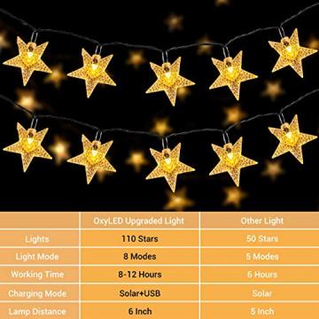 18M Lichterkette Außen Solar, OxyLED 110 LED Lichterketten Sterne Solar Lichterkette Aussen Solar Lichterkette Außen Weihnachtsbeleuchtung Dekoration für Garten,Terrasse,Party,Hochzeit (Warmweiß) - 2