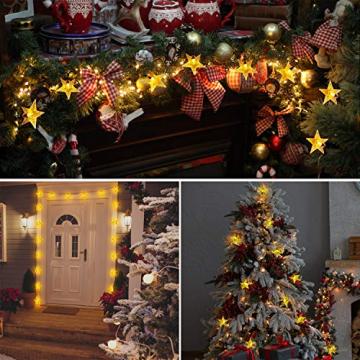 18M Lichterkette Außen Solar, OxyLED 110 LED Lichterketten Sterne Solar Lichterkette Aussen Solar Lichterkette Außen Weihnachtsbeleuchtung Dekoration für Garten,Terrasse,Party,Hochzeit (Warmweiß) - 5