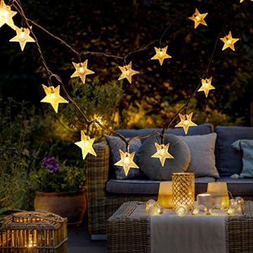 18M Lichterkette Außen Solar, OxyLED 110 LED Lichterketten Sterne Solar Lichterkette Aussen Solar Lichterkette Außen Weihnachtsbeleuchtung Dekoration für Garten,Terrasse,Party,Hochzeit (Warmweiß) - 6