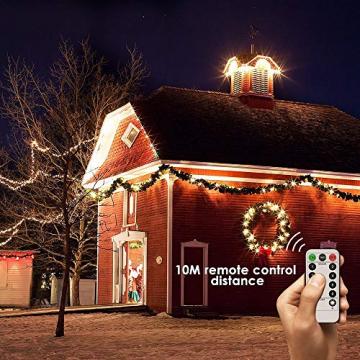 200 LED Lichterkette, ECOWHO 20M 8 Modi IP65 Wasserdicht Kupferdraht Lichterkette Batterie, Lichterkette Außen mit Fernbedienung & Timer, Lichterketten für Zimmer,Weihnachten - 5