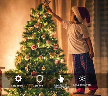 200 LED Lichterkette, ECOWHO 20M 8 Modi IP65 Wasserdicht Kupferdraht Lichterkette Batterie, Lichterkette Außen mit Fernbedienung & Timer, Lichterketten für Zimmer,Weihnachten - 6