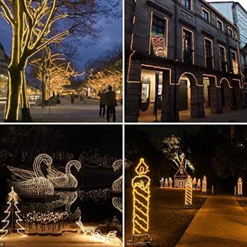 200 LED Schlauch Außen – Lichterschlauch Aussen 10m warmweiß mit Timer | Lichterkette Weihnachtsbeleuchtung wasserdicht | LED Lichtschlauch Außen 10m & Innen | Lichtschläuche Outdoor Leuchtschlauch - 3