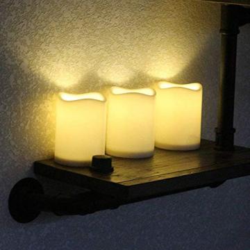 3 Outdoor Stück LED im Freien Wasserdichte Kerzen, Batteriebetriebene Plastikkerze mit Fernbedienung/Timer-Funktion (Warmweißes Licht) - 8cm X 10cm - 2
