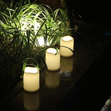 3 Outdoor Stück LED im Freien Wasserdichte Kerzen, Batteriebetriebene Plastikkerze mit Fernbedienung/Timer-Funktion (Warmweißes Licht) - 8cm X 10cm - 4