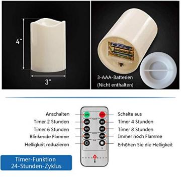 3 Outdoor Stück LED im Freien Wasserdichte Kerzen, Batteriebetriebene Plastikkerze mit Fernbedienung/Timer-Funktion (Warmweißes Licht) - 8cm X 10cm - 5