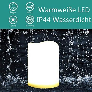 3 Outdoor Stück LED im Freien Wasserdichte Kerzen, Batteriebetriebene Plastikkerze mit Fernbedienung/Timer-Funktion (Warmweißes Licht) - 8cm X 10cm - 7