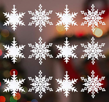 36 Stück Schneeflocken Weihnachten Deko Anhänger, Kunststoff Weihnachtsbaumschmuck Set Schneeflockendeko für Weihnachtsbaum Glitzer Christbaumschmuck Weiß - 3