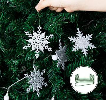 36 Stück Schneeflocken Weihnachten Deko Anhänger, Kunststoff Weihnachtsbaumschmuck Set Schneeflockendeko für Weihnachtsbaum Glitzer Christbaumschmuck Weiß - 1