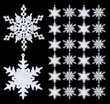 36 Stück Schneeflocken Weihnachten Deko Anhänger, Kunststoff Weihnachtsbaumschmuck Set Schneeflockendeko für Weihnachtsbaum Glitzer Christbaumschmuck Weiß - 5