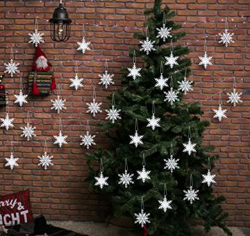 36 Stück Schneeflocken Weihnachten Deko Anhänger, Kunststoff Weihnachtsbaumschmuck Set Schneeflockendeko für Weihnachtsbaum Glitzer Christbaumschmuck Weiß - 6