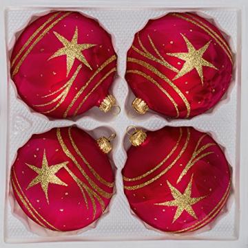 """4 tlg. Glas-Weihnachtskugeln Set 8cm Ø in """"Ice Rot Gold"""" Komet - Christbaumkugeln - Weihnachtsschmuck-Christbaumschmuck 8cm Durchmesser - 1"""