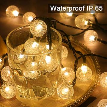 50 Led Lichterkette Solar Außen, 10 M 8 Modi Beleuchtung Solarlichterkette mit Wasserdicht Lichtsensor Kristall Kugel warmweiß Solarlampe Deko für Garten Party Hochzeite Weihnachten - 2