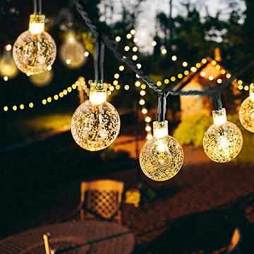 50 Led Lichterkette Solar Außen, 10 M 8 Modi Beleuchtung Solarlichterkette mit Wasserdicht Lichtsensor Kristall Kugel warmweiß Solarlampe Deko für Garten Party Hochzeite Weihnachten - 1