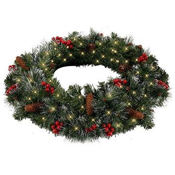 60CM Künstliche Weihnachtskranz Deko mit 50 LED Warm Weiß Christmas Wreath Decoration Künstlicher Kranz Weihnachten Künstliche Kranz Deko für Parties Feste Türen Halloween Weihnachten Deko (50 LED) - 2