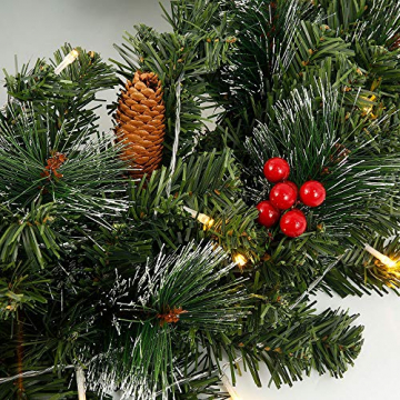 60CM Künstliche Weihnachtskranz Deko mit 50 LED Warm Weiß Christmas Wreath Decoration Künstlicher Kranz Weihnachten Künstliche Kranz Deko für Parties Feste Türen Halloween Weihnachten Deko (50 LED) - 3