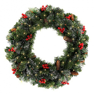 60CM Künstliche Weihnachtskranz Deko mit 50 LED Warm Weiß Christmas Wreath Decoration Künstlicher Kranz Weihnachten Künstliche Kranz Deko für Parties Feste Türen Halloween Weihnachten Deko (50 LED) - 1