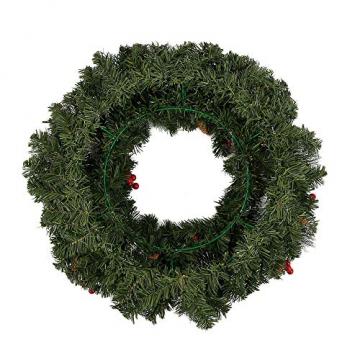 60CM Künstliche Weihnachtskranz Deko mit 50 LED Warm Weiß Christmas Wreath Decoration Künstlicher Kranz Weihnachten Künstliche Kranz Deko für Parties Feste Türen Halloween Weihnachten Deko (50 LED) - 5