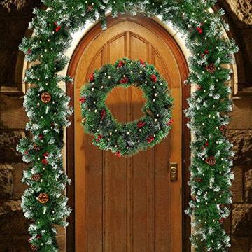 60CM Künstliche Weihnachtskranz Deko mit 50 LED Warm Weiß Christmas Wreath Decoration Künstlicher Kranz Weihnachten Künstliche Kranz Deko für Parties Feste Türen Halloween Weihnachten Deko (50 LED) - 6