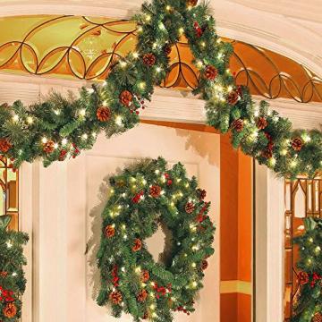 60CM Künstliche Weihnachtskranz Deko mit 50 LED Warm Weiß Christmas Wreath Decoration Künstlicher Kranz Weihnachten Künstliche Kranz Deko für Parties Feste Türen Halloween Weihnachten Deko (50 LED) - 7