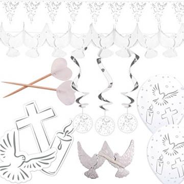 6m Waben-Girlande * Weisse TAUBEN * für Taufe, Konfirmation, Kommunion oder christliches Fest // Trauerfeier Weihnachten Ostern Advent Dekoration Deko Motto Wimpelkette Banner - 3