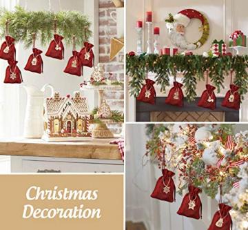 ABSOFINE 24 stück Jutesäckchen mit 24 Adventszahlen Zahlen Holz Deko Holz-Anhänger für Weihnachten Adventskalender Jutebeutel Stoffbeute Geschenksäckchen zum Befüllen(Rot) - 6