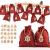 ABSOFINE 24 stück Jutesäckchen mit 24 Adventszahlen Zahlen Holz Deko Holz-Anhänger für Weihnachten Adventskalender Jutebeutel Stoffbeute Geschenksäckchen zum Befüllen(Rot) - 1