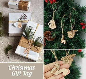 ABSOFINE 24 stück Jutesäckchen mit 24 Adventszahlen Zahlen Holz Deko Holz-Anhänger für Weihnachten Adventskalender Jutebeutel Stoffbeute Geschenksäckchen zum Befüllen(Rot) - 7