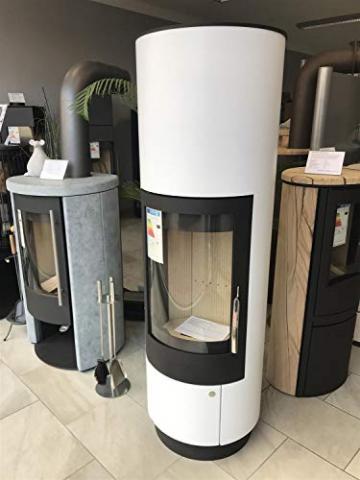 ABX Kamin-Ofen Porto II weiß Holzofen rund 6 kw manuelle Luftregulierung 150mm Abgasstutzen Wärmeabgabe verlängerbar durch zusätzliches Speicherstein-Set - 2