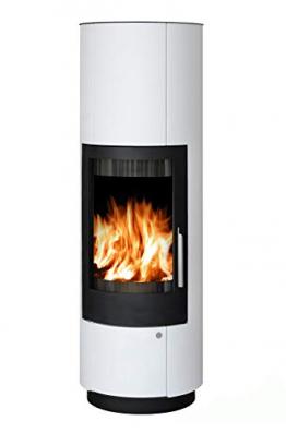 ABX Kamin-Ofen Porto II weiß Holzofen rund 6 kw manuelle Luftregulierung 150mm Abgasstutzen Wärmeabgabe verlängerbar durch zusätzliches Speicherstein-Set - 1
