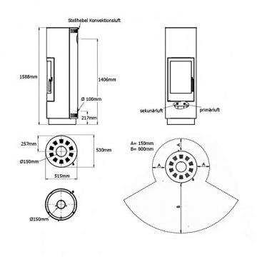 ABX Kamin-Ofen Porto II weiß Holzofen rund 6 kw manuelle Luftregulierung 150mm Abgasstutzen Wärmeabgabe verlängerbar durch zusätzliches Speicherstein-Set - 4