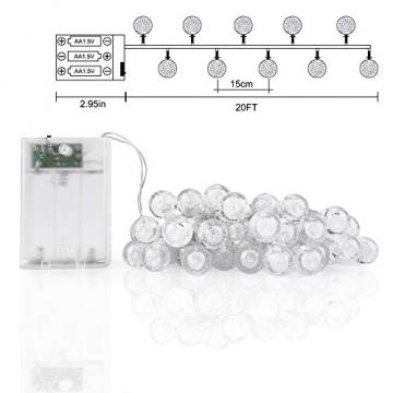 ACBungji 6M/10M LED Lichterkette Batteriebetriebene mit 80 LED Beleuchtung Weihnachtsbeleuchtung Warmweiß für Zimmer Außen/Innen Garten Dekoration Party Hochzeit Schaufenster (6M) - 7