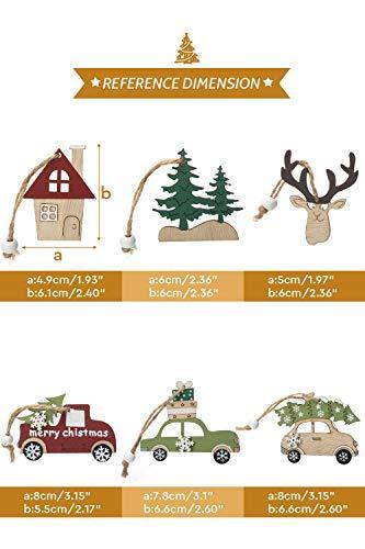 Aitsite Christbaum Schmuck Holz, Hängenden Anhänger für Haus und Feiertag Dekoration, Behang Set 6PCS - 2