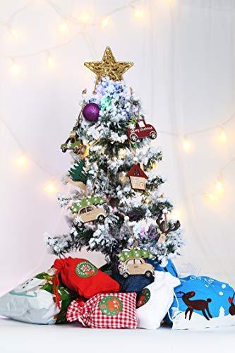 Aitsite Christbaum Schmuck Holz, Hängenden Anhänger für Haus und Feiertag Dekoration, Behang Set 6PCS - 3