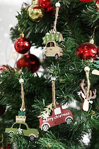 Aitsite Christbaum Schmuck Holz, Hängenden Anhänger für Haus und Feiertag Dekoration, Behang Set 6PCS - 6