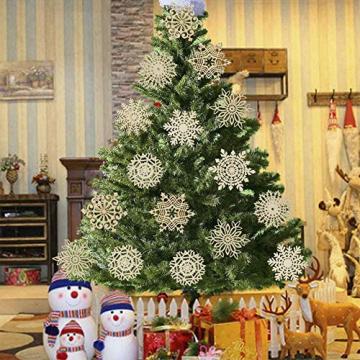 Ambolio 36 Stück Holz Weihnachten Anhänger,Mini Schneeflocken Holzscheiben Streudeko,Holz Weihnachtendeko,Holz Weihnachten Basteln,Schneeflocken Christbaum Anhänger,Holz Streudeko Weihnachten - 6