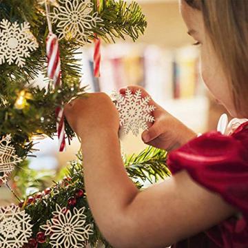 Ambolio 36 Stück Holz Weihnachten Anhänger,Mini Schneeflocken Holzscheiben Streudeko,Holz Weihnachtendeko,Holz Weihnachten Basteln,Schneeflocken Christbaum Anhänger,Holz Streudeko Weihnachten - 7