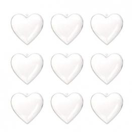 Amosfun Acrylformen Kunststoff Füllbar Teilbar Deko Herz Hänger Bastelkugel mit Aufhängeöse Hochzeit Valentinstag Hängende Dekoration 6cm 10 Stück (Transparent) - 1