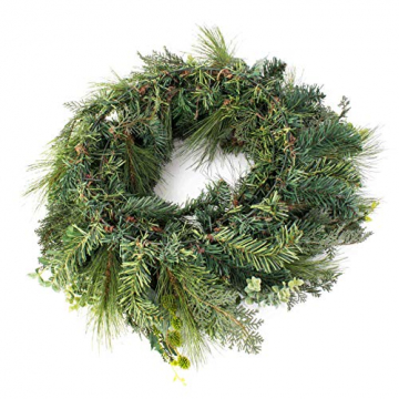 artplants.de Künstlicher Tannenkranz, Zapfen und Efeu, Ø 60cm - Türkranz - Weihnachtsdeko - 2