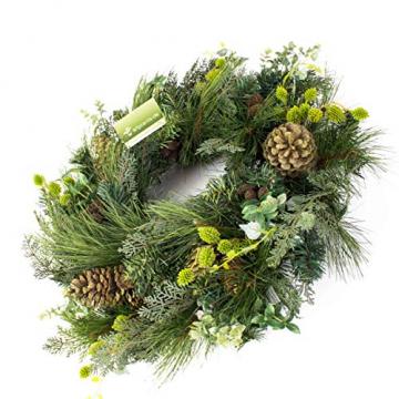 artplants.de Künstlicher Tannenkranz, Zapfen und Efeu, Ø 60cm - Türkranz - Weihnachtsdeko - 5