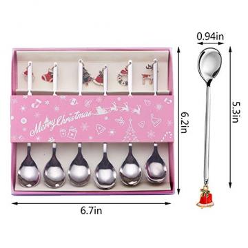 AXspeed Weihnachtslöffel, 6-teiliges Edelstahl-Löffel, Koch-Set mit Weihnachtsanhänger, Kaffee-Rührlöffel, Teelöffel, Dessertlöffel, mit Geschenkbox (Silber) - 2