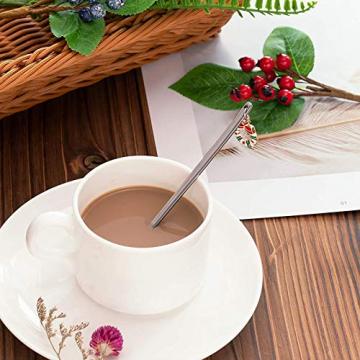 AXspeed Weihnachtslöffel, 6-teiliges Edelstahl-Löffel, Koch-Set mit Weihnachtsanhänger, Kaffee-Rührlöffel, Teelöffel, Dessertlöffel, mit Geschenkbox (Silber) - 4