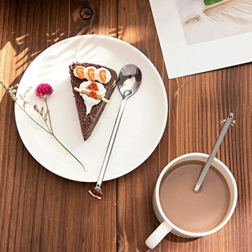 AXspeed Weihnachtslöffel, 6-teiliges Edelstahl-Löffel, Koch-Set mit Weihnachtsanhänger, Kaffee-Rührlöffel, Teelöffel, Dessertlöffel, mit Geschenkbox (Silber) - 5